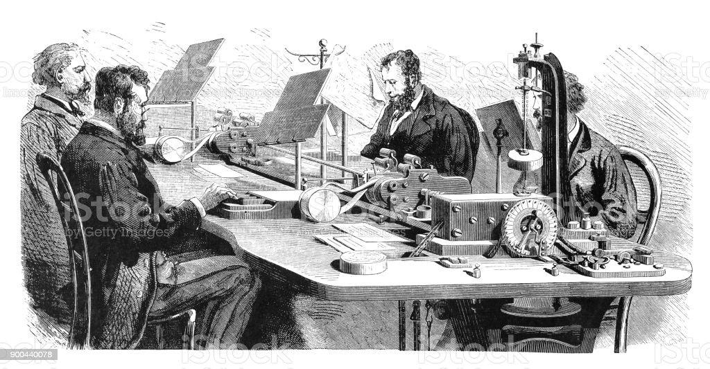 Ilustração de bureau de telegrafia com múltiplo telégrafo paris