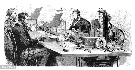 Steel engraving bureau of telegraphy in Paris. Multiple telegraph by August Konstantin Mayer, Paris, France