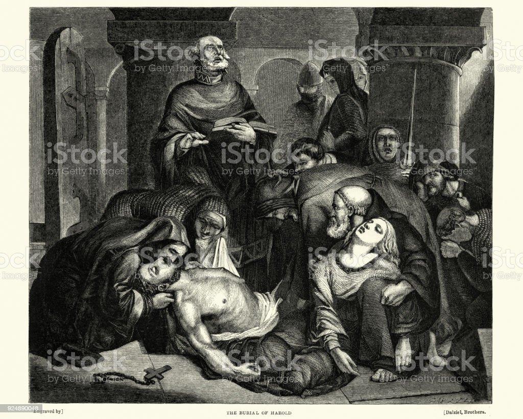 Burial of King Harold, 1066 vector art illustration