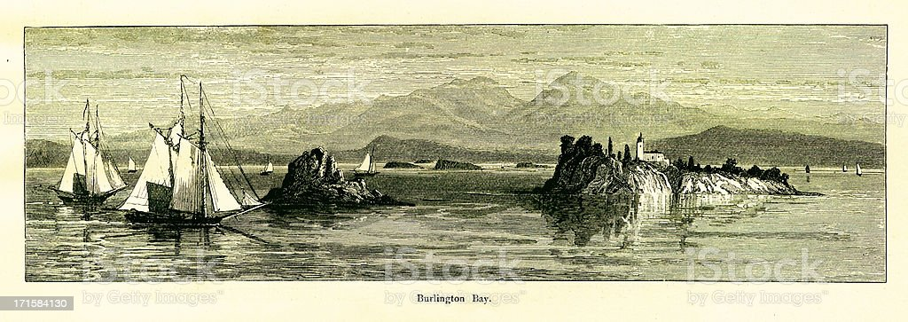 Burlington Bay, Lake Champlain, Vermont | Historic American Illustrations vector art illustration