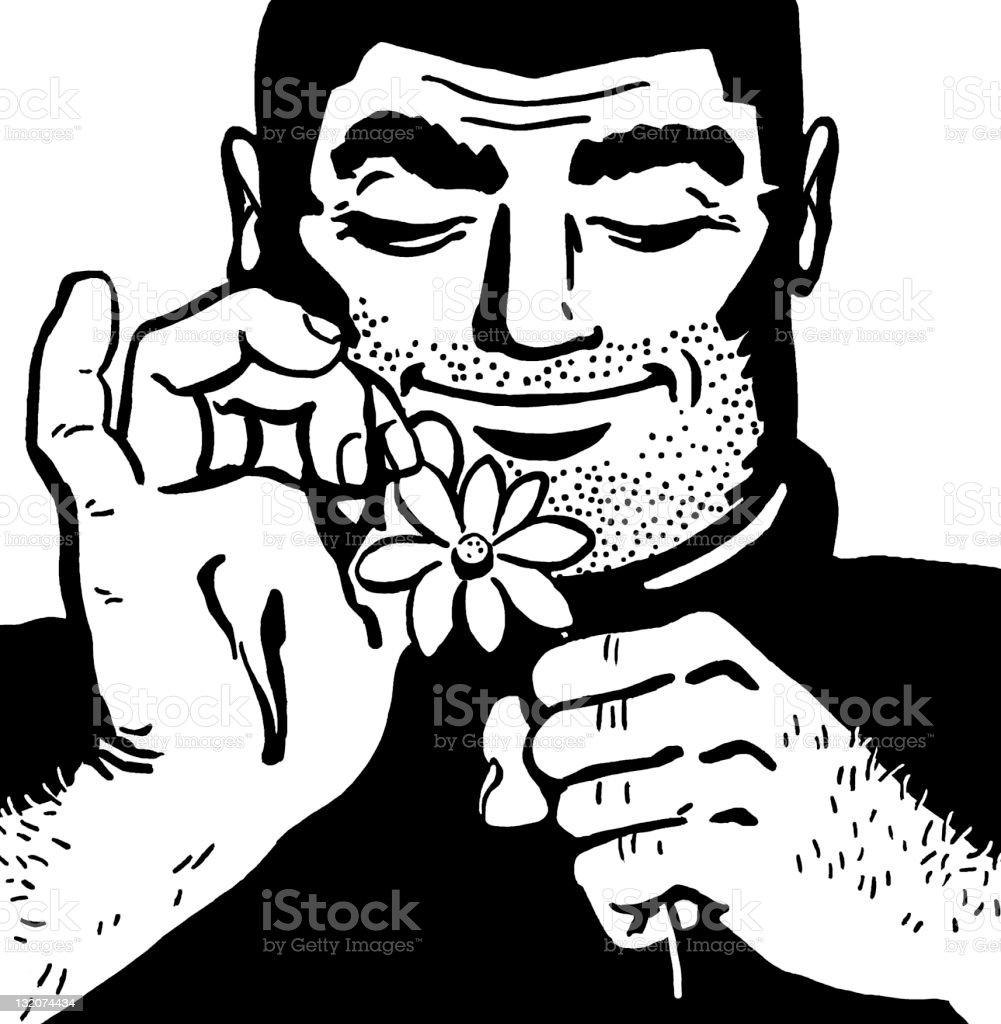 Burly Man Picking Petals off Flower vector art illustration