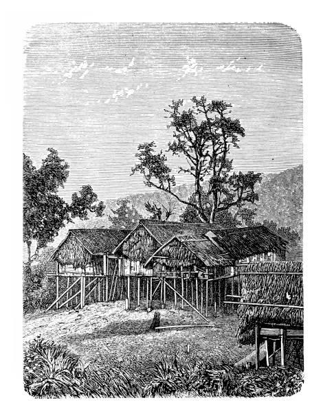burma, karen village of leith - burma home do stock illustrations