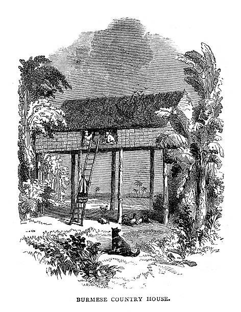 birmański country house - burma home do stock illustrations