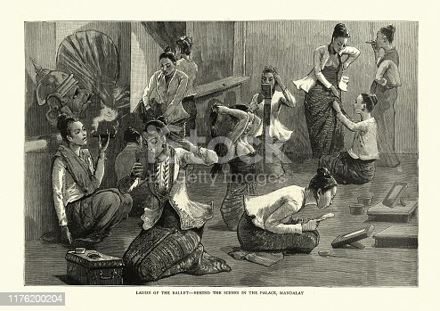 Vintage engraving of Burmese dancers getting ready backstage, Mandalay 1886. 19th Century, Burma