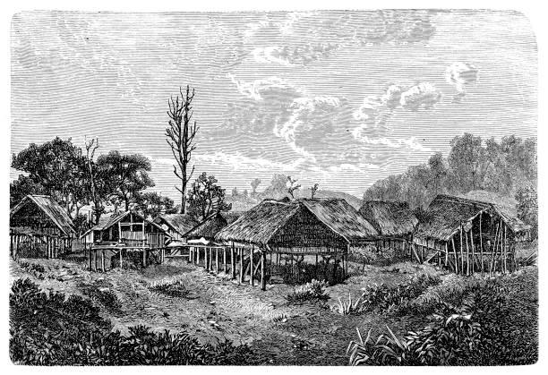 burmese village - burma home do stock illustrations