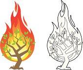 Burning bush vector illustration