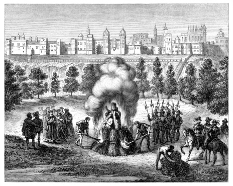 Burning Of The Windsor Martyrs 1543 Stock Illustration - Download Image Now