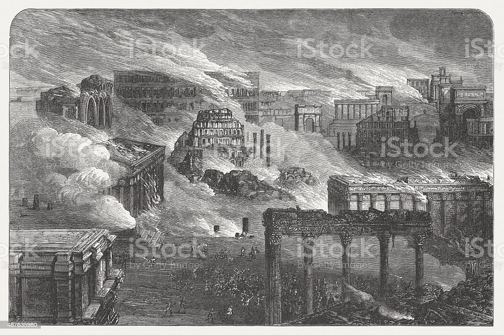 Burning Rome in 1084, published in 1878 vector art illustration