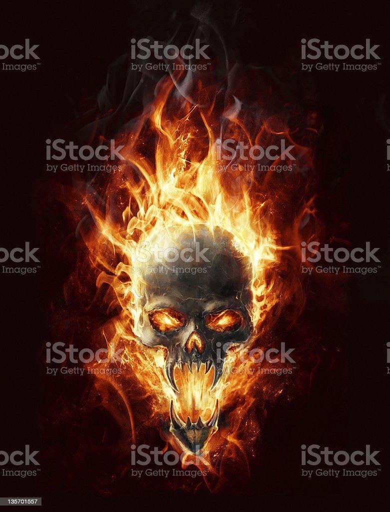 Burning skull vector art illustration