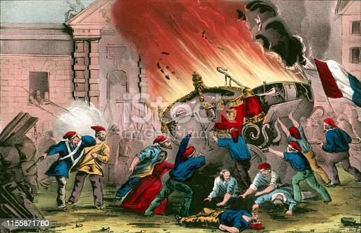 Vintage illustration shows French citizens burning the Royal carriages at the Chateau d'Eu during the French Revolution of 1848.