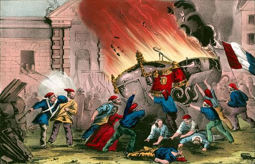 1848年のフランス革命の間にシャトードゥユーで王室の馬車を燃やす ...