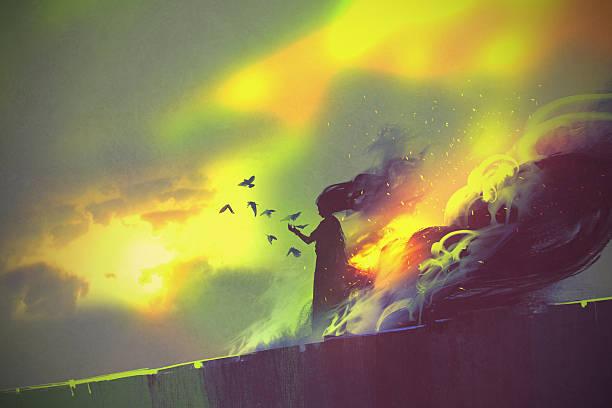 burning woman,illustration art vector art illustration