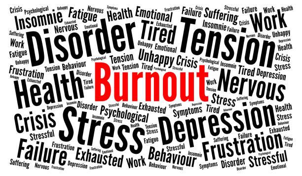 번아웃 워드 클라우드 개념 - burnout stock illustrations