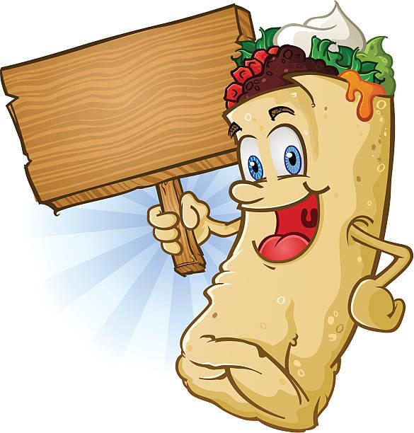 burritos charakter hält ein schild - chimichanga stock-grafiken, -clipart, -cartoons und -symbole