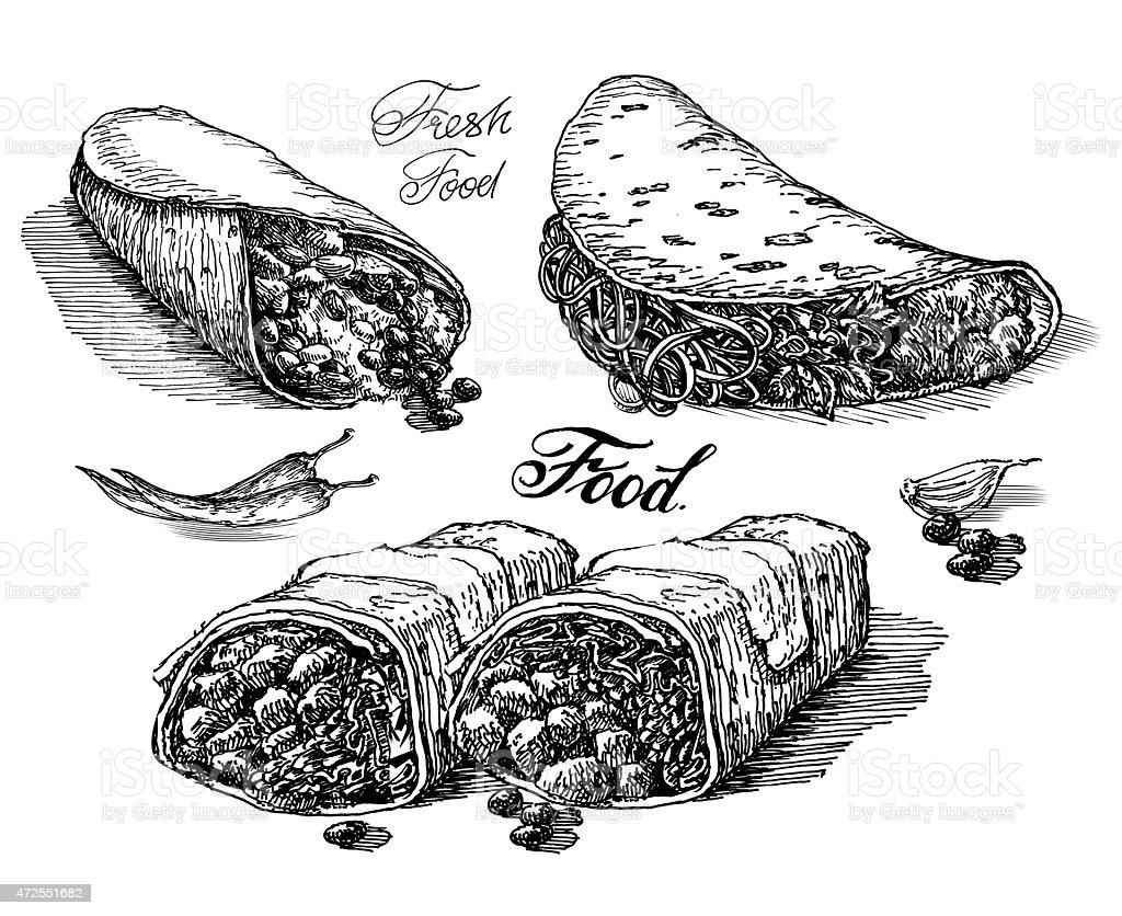 burritos, tacos on white background. fast food. sketch vector art illustration