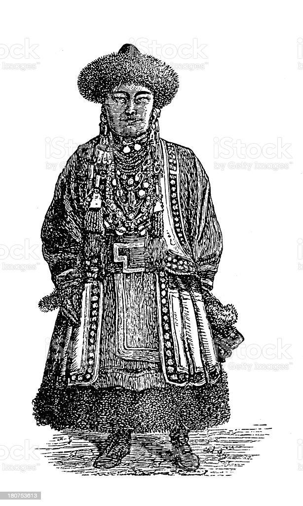 Buryat woman (antique wood engraving) royalty-free buryat woman stock vector art & more images of 19th century