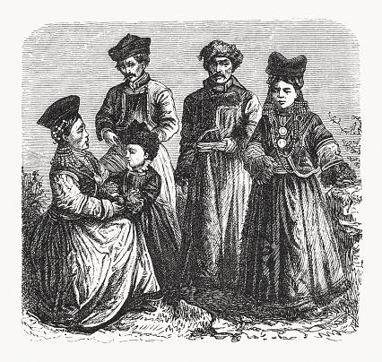 Buryats, Mongolian ethnic group, wood engraving, published in 1893