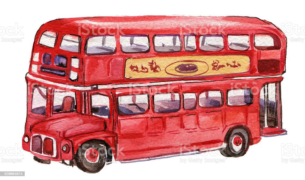 bus, London,watercolor illustration vector art illustration
