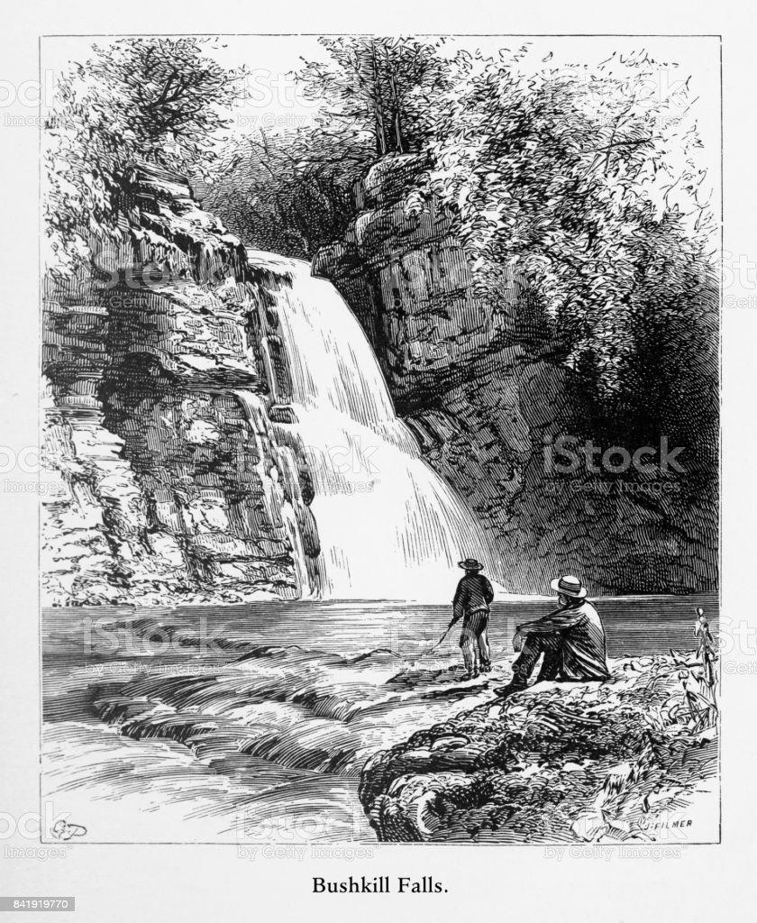 Bushkill Falls, Delaware River Water Gap, Pennsylvania, United States, American Victorian Engraving, 1872 vector art illustration
