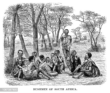 Bushmen of South Africa - Scanned 1880 Engraving