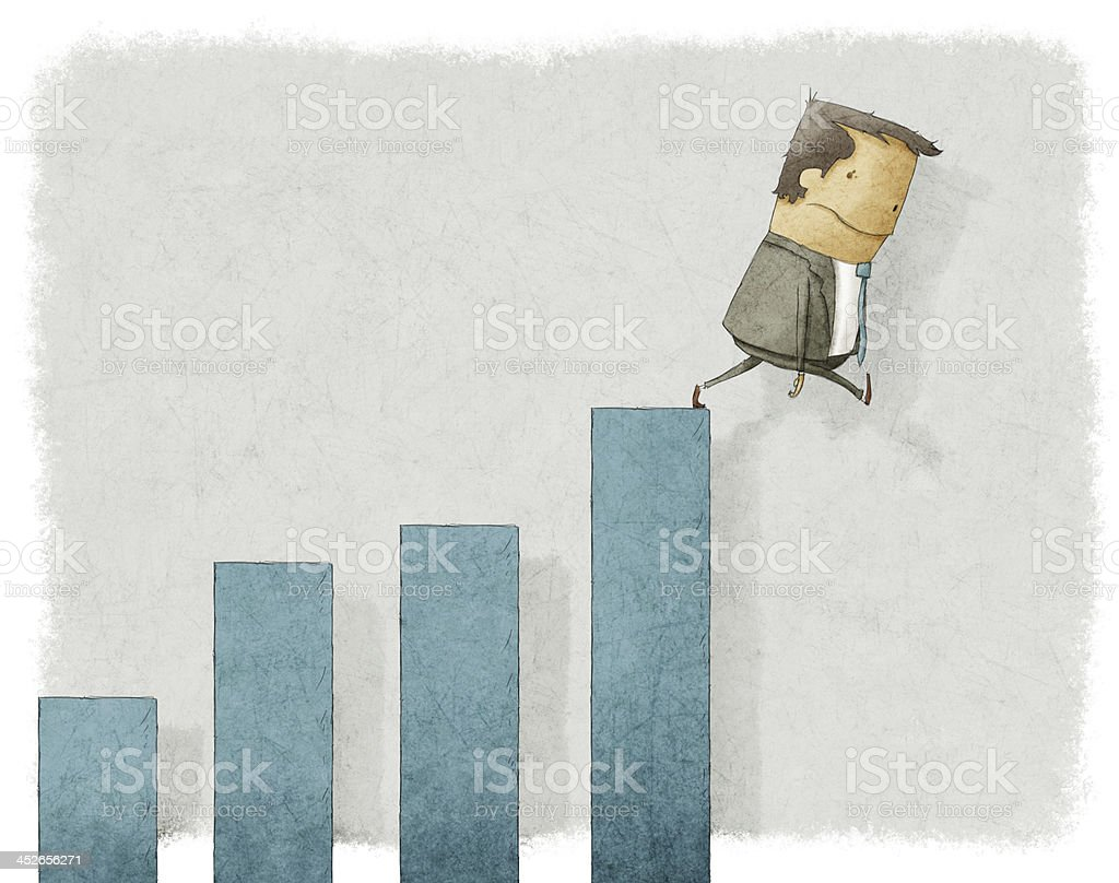 businesman falling from chart vector art illustration