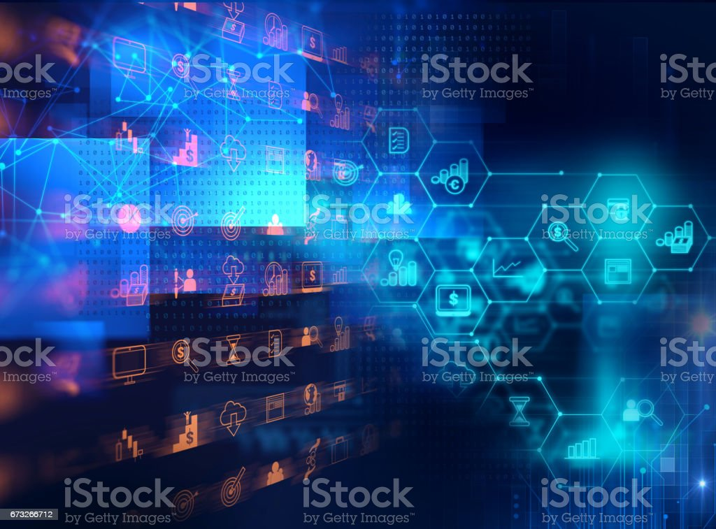 business and learning icon  on blue technology background vector art illustration