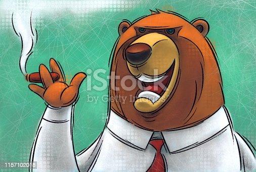 digital painting / raster illustration of business bear smoking cigar