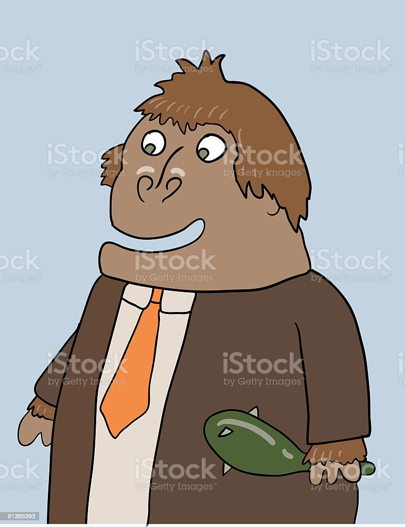 Business caveman vector art illustration