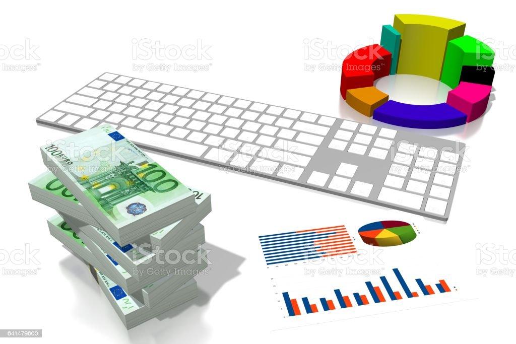 Graphique de l'entreprise 3D, argent Euro - Illustration vectorielle