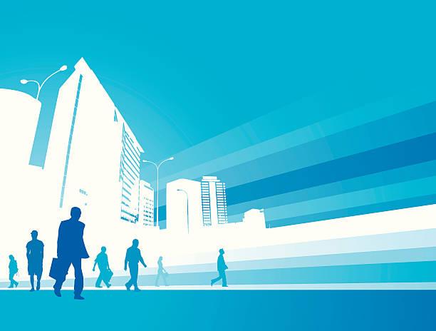 illustrazioni stock, clip art, cartoni animati e icone di tendenza di città business - city walking background