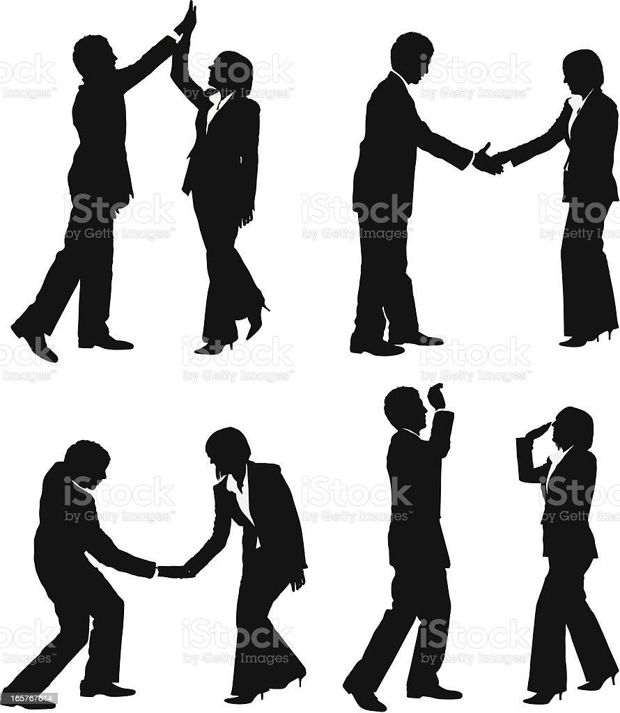 Business couple secret handshake high five vector art illustration