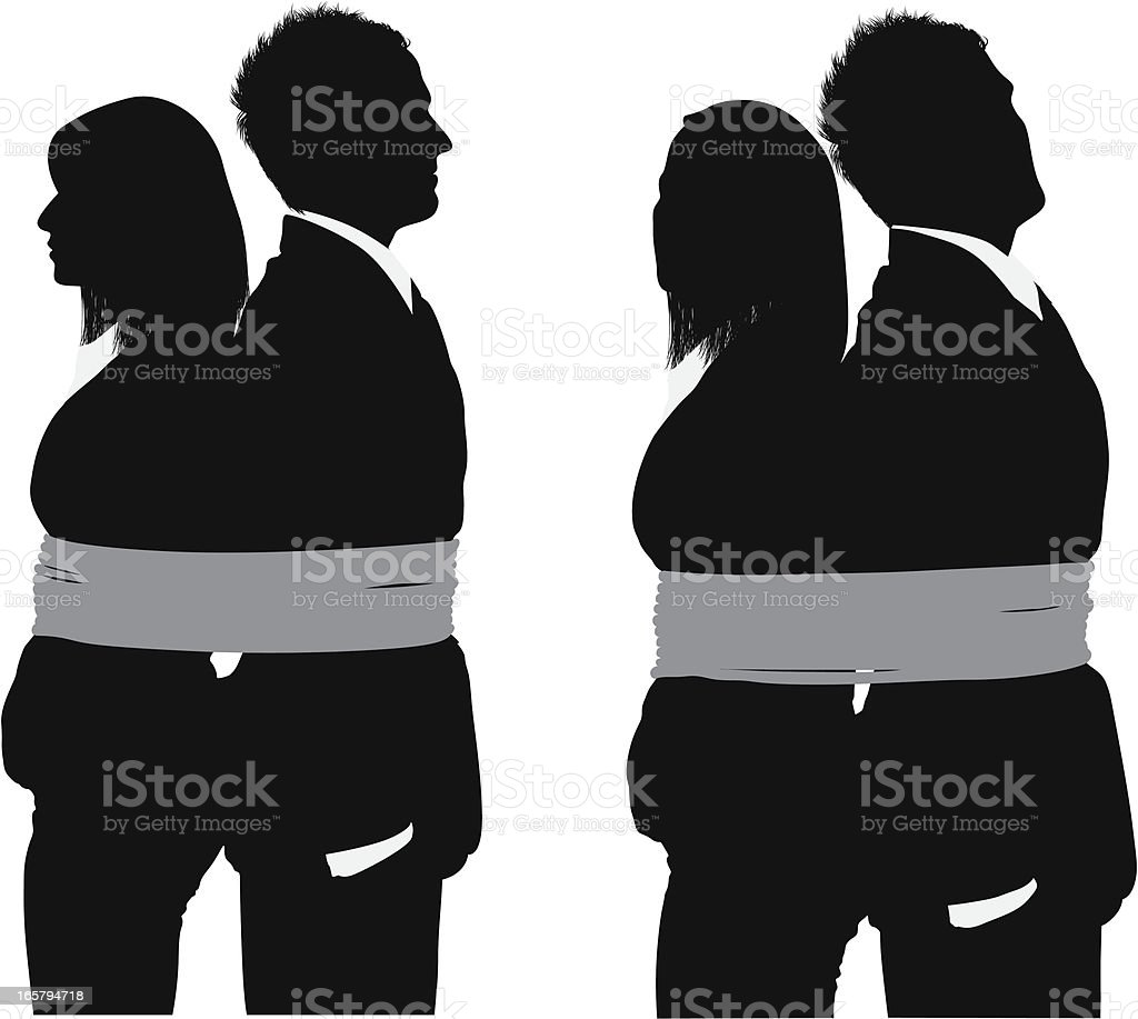 Business couple tied up with rope vector art illustration