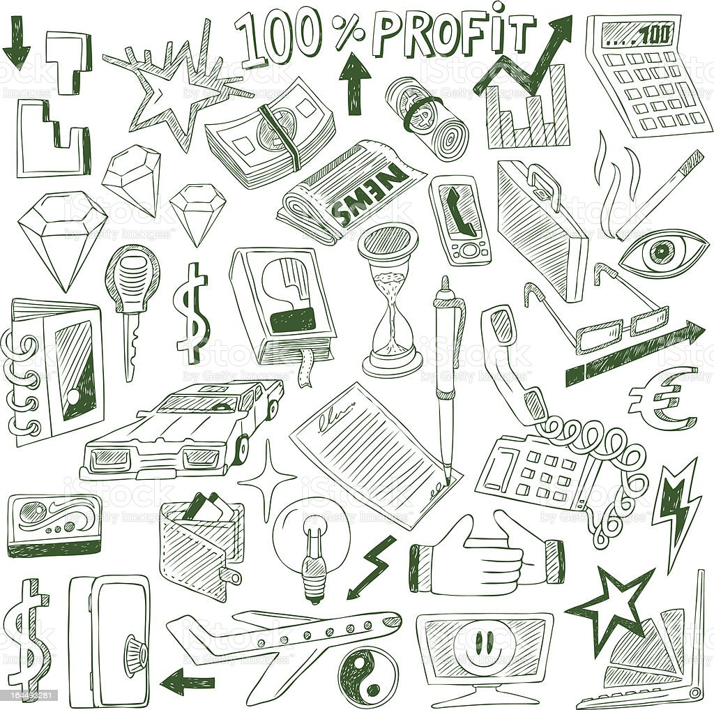 Business doodles collection royalty-free business doodles collection stock vector art & more images of airplane