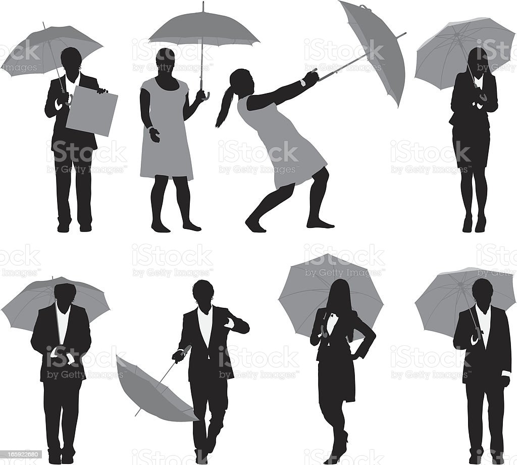 Business executives with umbrellas vector art illustration