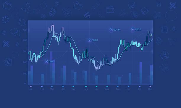 Business financial graph background vector art illustration