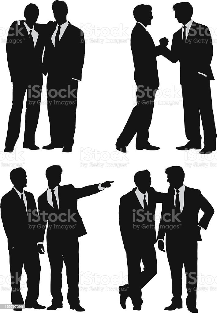 Business friends silhouettes vector art illustration