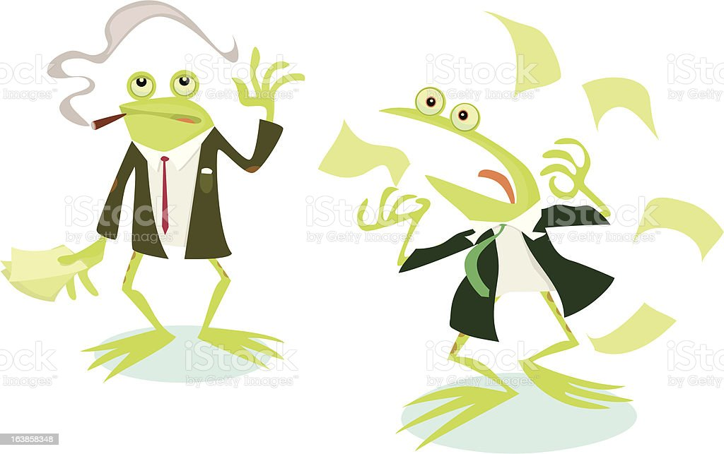 Business Frogs vector art illustration
