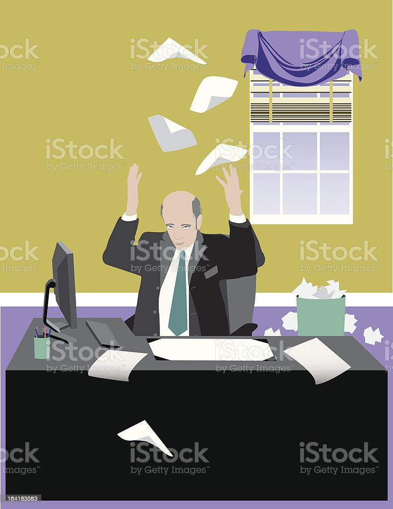Business Man Giving Up - Royaltyfri 50-54 år vektorgrafik