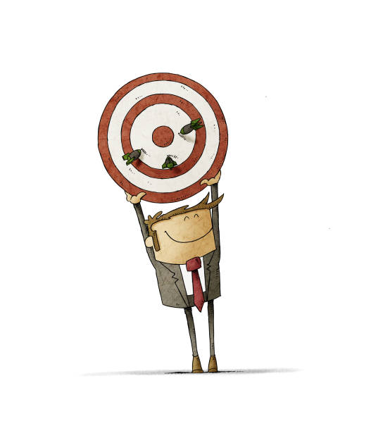 Business man holds up a target that has three darts stuck. Human resources concept. isolated vector art illustration
