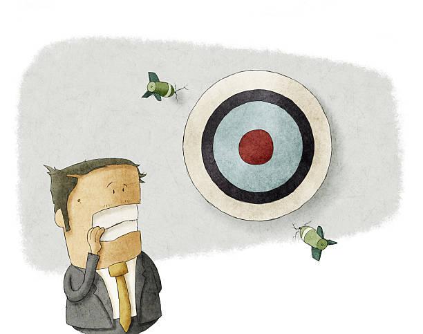 Business man misses the Target. vector art illustration