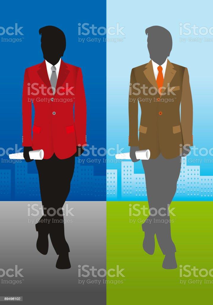 Silhouette di un uomo d'affari su sfondo di città silhouette di un uomo daffari su sfondo di città - immagini vettoriali stock e altre immagini di abbigliamento royalty-free