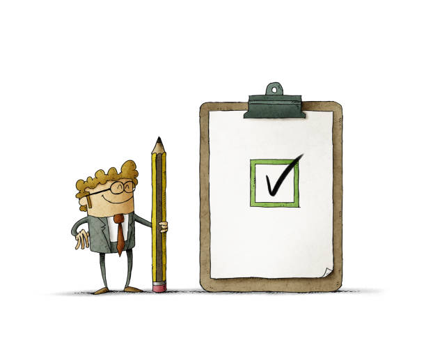 Business man with a giant pencil in her hand next to a clipboard with checklist. Successful completion of business tasks. isolated vector art illustration