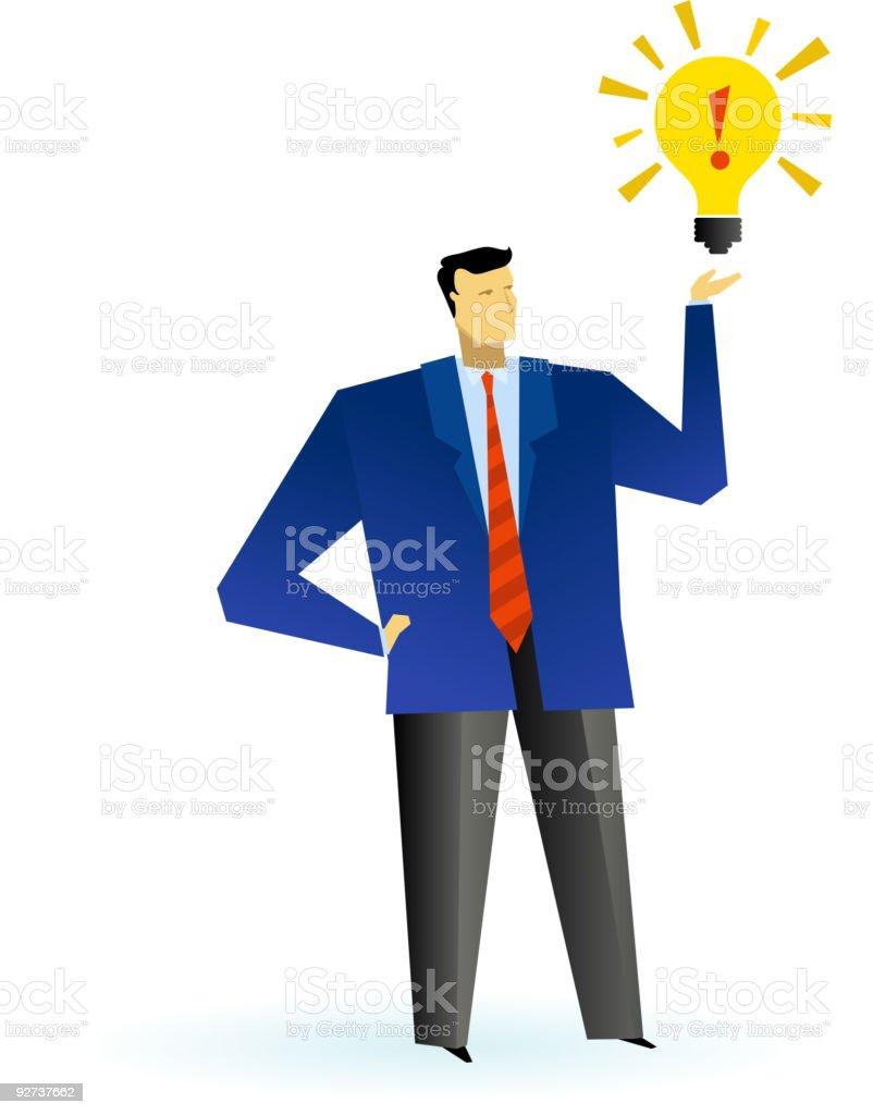Business man with light bulb vector art illustration