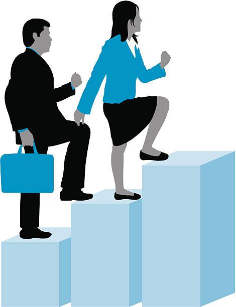 business mann & frau stepping up - elemi stock-grafiken, -clipart, -cartoons und -symbole