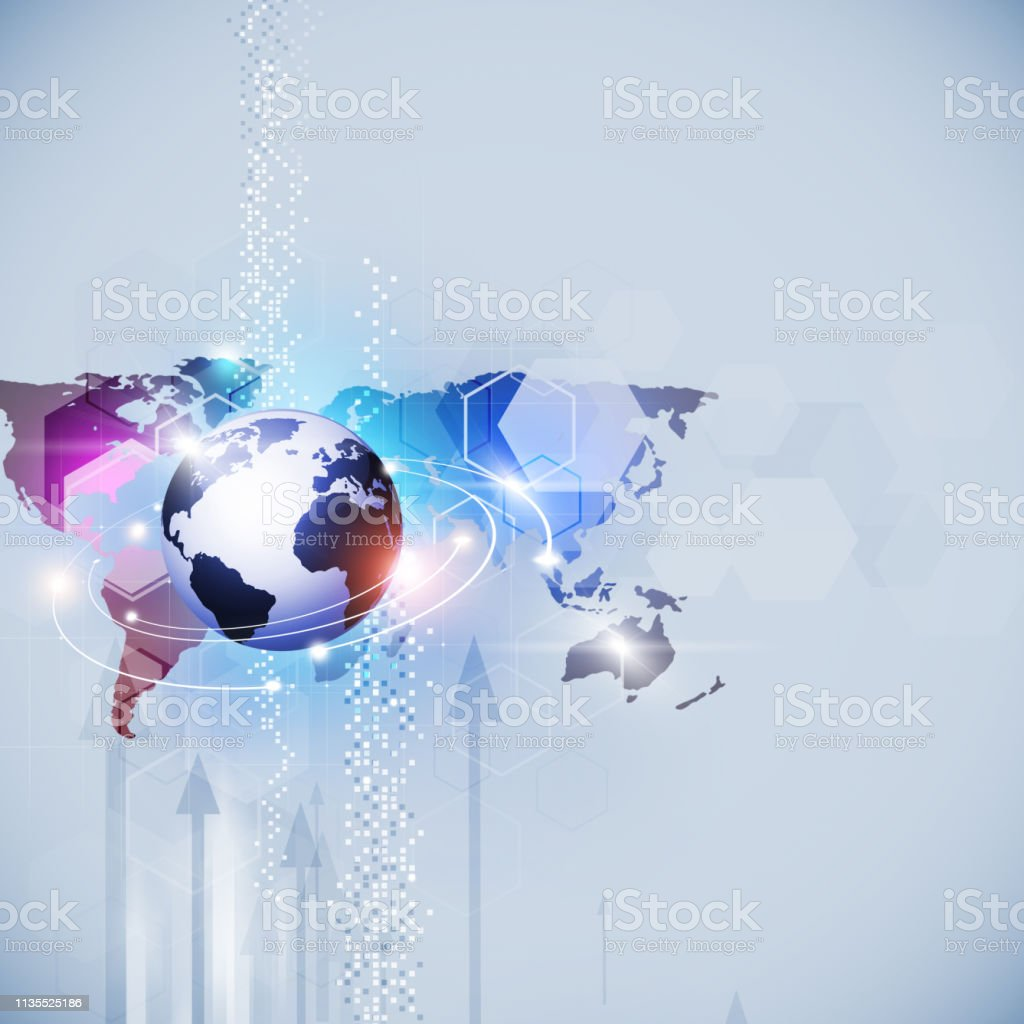 abstract busimess concept background with arrows, world map and...