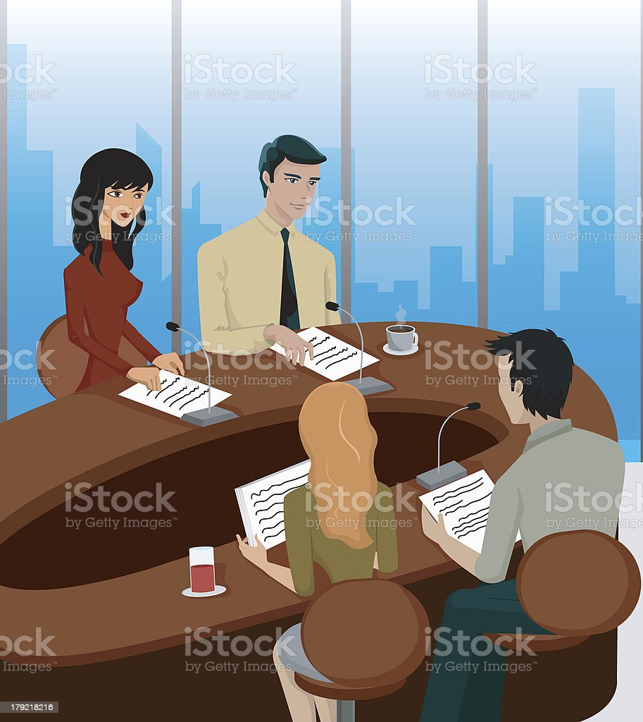 Business Meeting At A Round Table Royalty Free Business Meeting At A Round  Table Stock