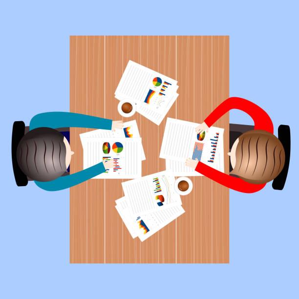 illustrazioni stock, clip art, cartoni animati e icone di tendenza di business meeting, conversation concept - business meeting, table view from above