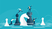 Business men hopping from one chess figure to an other. Compete, challenge, winning and professional growth idea.  Business concept illustration.