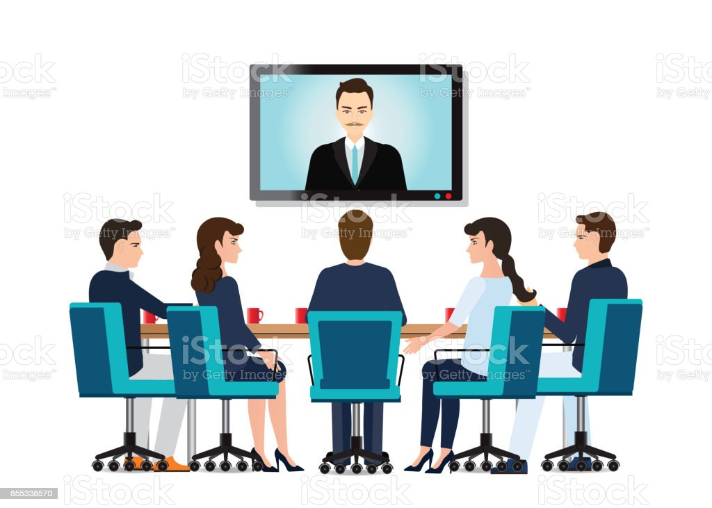 Business people attending videoconference meeting. vector art illustration