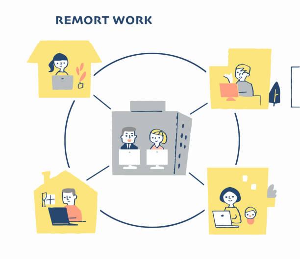リモートワークを行うビジネス・ユーザー - テレビ会議 日本人点のイラスト素材/クリップアート素材/マンガ素材/アイコン素材